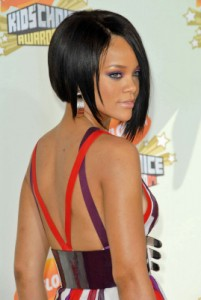 Rihanna inverted bob asymmetrical bob